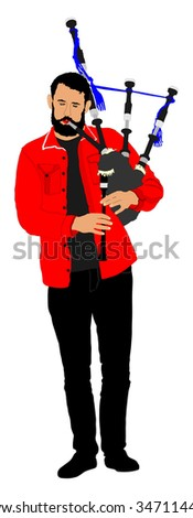 Bagpiper vector on white background. Street perform. - stock vector