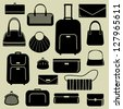 Bags and suitcases icons set - stock photo