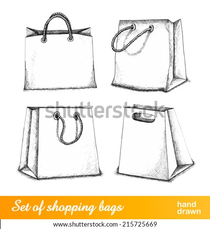 Bags for shopping set. 4 bags and paper bags are isolated on white background. Vector illustration. - stock vector