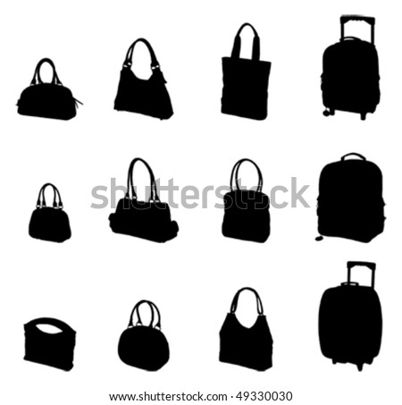 bags silhouette - stock vector