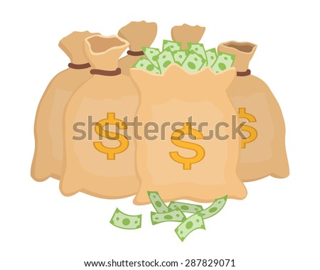 Bags with moneys. Sacks full with dollars. Vector illustration. - stock vector