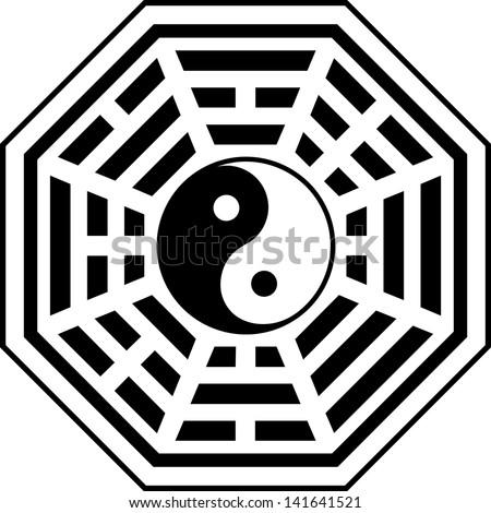 Bagua, Pakua, Feng Shui Compass - stock vector