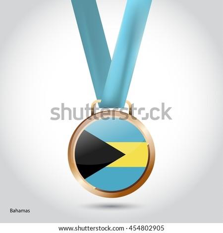 Bahamas Flag in Bronze Medal. Olympic Game Bronze Medal. Vector Illustration - stock vector