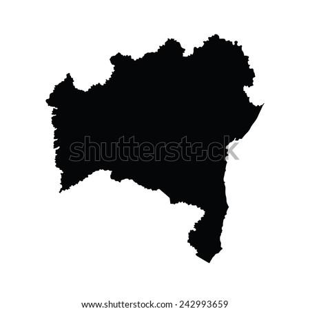 Bahia, Brazil, vector map isolated on white background. High detailed silhouette illustration.  - stock vector