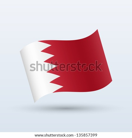 Bahrain flag waving form on gray background. Vector illustration. - stock vector