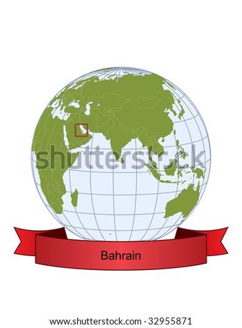 Bahrain, position on the globe - stock vector