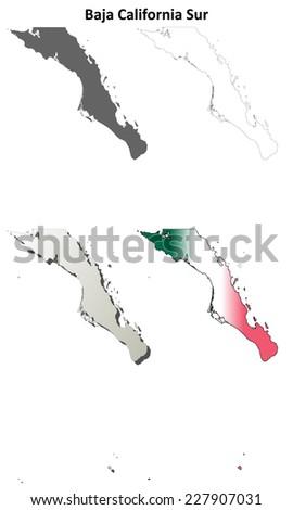 Baja California Sur blank outline map set - stock vector