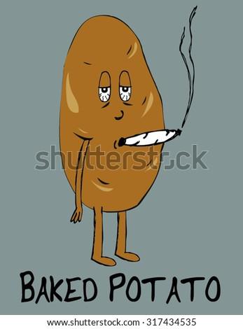 baked potato - stock vector