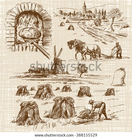 baker,bake bread, windmill - hand drawn collection - stock vector