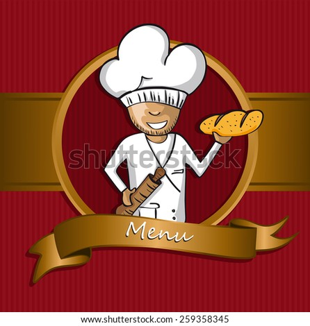 Baker chef cartoon badge. Hand drawn illustration for menu design. Vector file organized in layers for easy editing. - stock vector