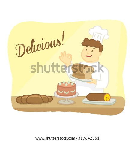 Baker Holding Bread with Several Cakes and Breads on Table, Cartoon Style, Vector Illustration - stock vector