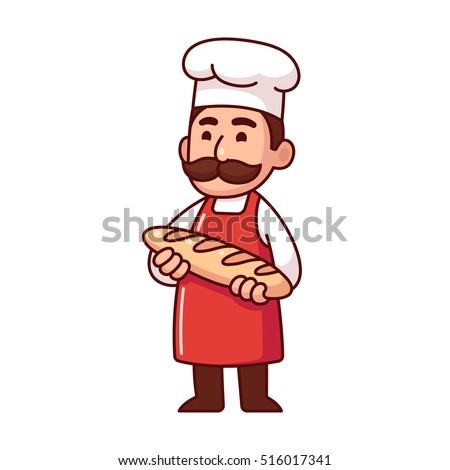 Baker holding loaf of bread, cute character in traditional uniform with mustache. Isolated vector illustration.