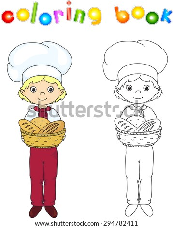 Baker in a cap holding a basket with bread, rolls and baguettes. Coloring book. Game for children. Vector illustration - stock vector