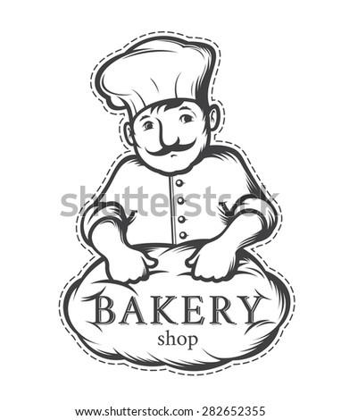 baker, label or logo for  bakeries - stock vector