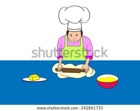 Baker making dough.Baker kneading dough with rolling pin-Vector illustration  - stock vector