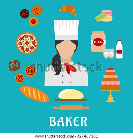 Baker profession flat icons with baker in chef hat, encircled by pizza, cupcakes, cake, macarons, croissant, long loaf of bread, cinnamon rolls, pretzel, dough with rolling pin, flour, eggs and milk - stock vector
