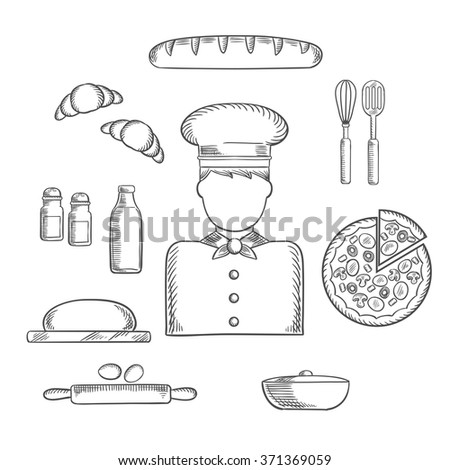 Baker profession sketch icons with chef in toque, pizza, baguette and croissant, milk and eggs, dough and chopping board, cutlery and salt, pepper and pot. Vector sketch - stock vector