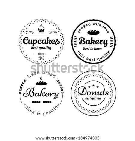 Bakery and cupcakes badges - stock vector