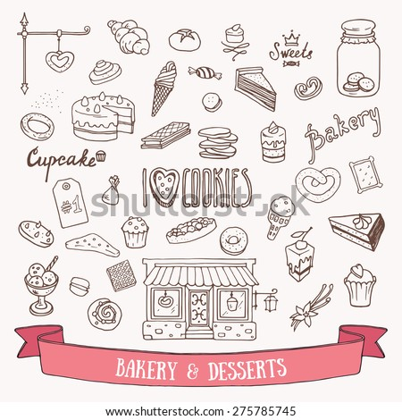 Bakery and dessert doodle set. Hand drawn vector illustration of sweets and pasties. - stock vector