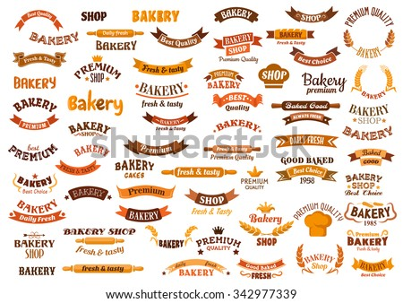 Bakery and pastry design elements with ribbon banners, wheat and rye ears, baker hats, rolling pins, crowns and stars. Isolated on  white - stock vector