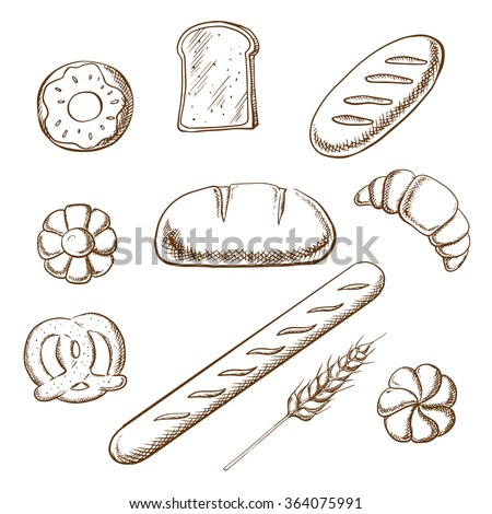 Bakery and pastry icons in sketch style with round loaf of rye bread encircled by long loaf, toasts, french baguette, salty pretzel and sweet cookie, donut, croissant and bun