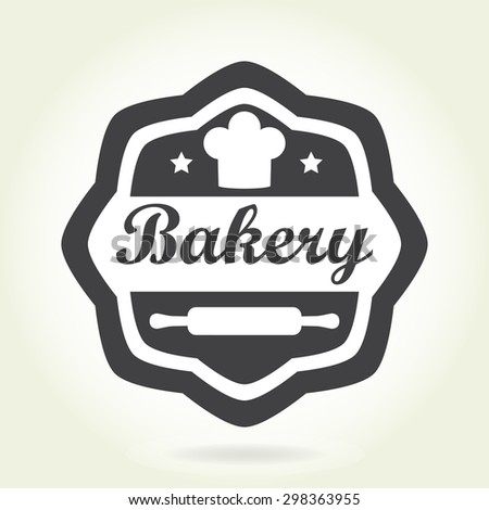 Bakery badge or label in old or vintage style.  Design elements with bread symbol isolated on white background. Vector illustration. - stock vector