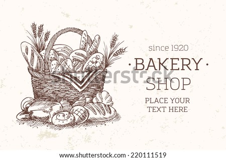 Bakery Basket food template. Bread sketch illustration. Vintage bread basket. Bakery shop. Vector illustration.  - stock vector