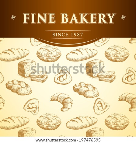 bakery chef.  seamless background pattern. labels pack for bread, baguette, loaf, cake, baked, croissant,bun - stock vector