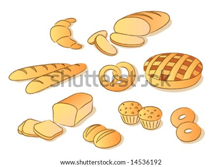 Bakery clip art set. Sketch style - stock vector