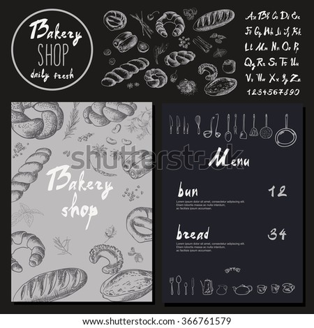 Bakery corporate identity. Bakery template. blackboard chalk style Vector set - stock vector