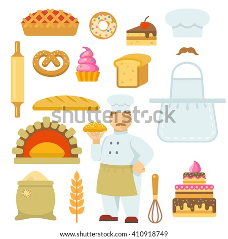 Bakery decorative flat icons set with chef bag of flour tools bread cake pie isolated vector illustration - stock vector