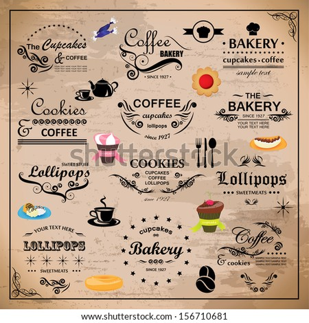 Bakery Design Elements Set - Isolated On Beige Background - Vector Illustration, Graphic Design Editable For Your Design. - stock vector