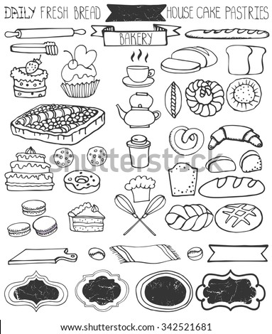 Bakery Doodle vector.Bread,cakes and pastries icons set with tableware,badges decor.Linear vintage elements for logo,label,menu,cafe shop. Flat hand drawn isolated items collection - stock vector