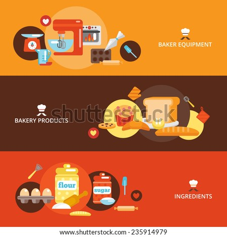 Bakery flat banner set with products ingredients baker equipment isolated vector illustration. - stock vector