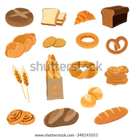 Bakery fresh bread varieties assortment flat icons collection with loaf and french baguette abstract isolated vector illustration