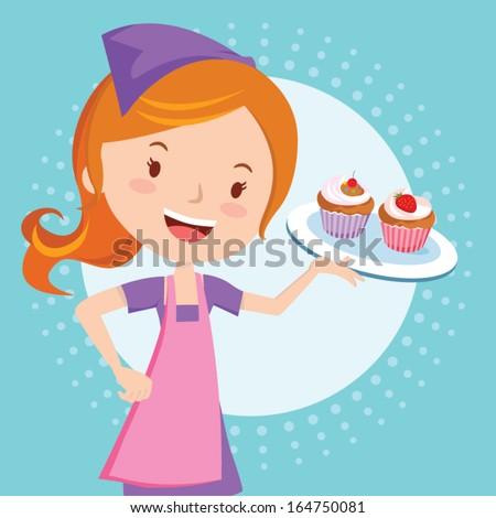 Bakery girl holding cupcakes - stock vector