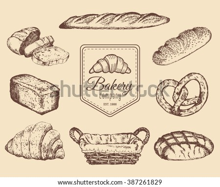 Bakery goods and sweets sketches set. Vector hand drawn bread, pretzel, croissant, cookies illustrations for cafe, restaurant menu, food store logo etc.