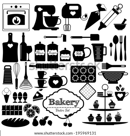 Bakery icons set. Vector elements for your design.Black and white set. - stock vector