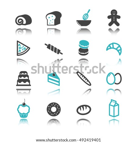 bakery icons with reflection isolated on white background