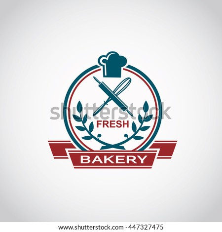 bakery label image with ribbon and kitchen utensils - stock vector