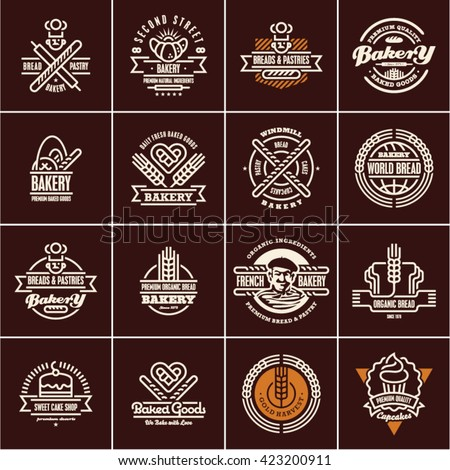bakery labels isolated on black background, bakery logo, bakery icons set, bread, pastry - stock vector