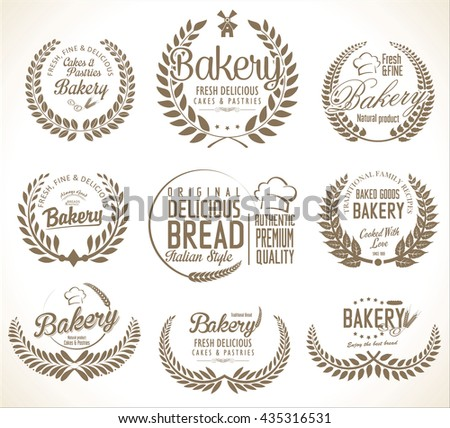 Bakery labels laurel wreaths design collection - stock vector