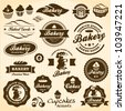 Bakery labels retro style vintage set - stock photo