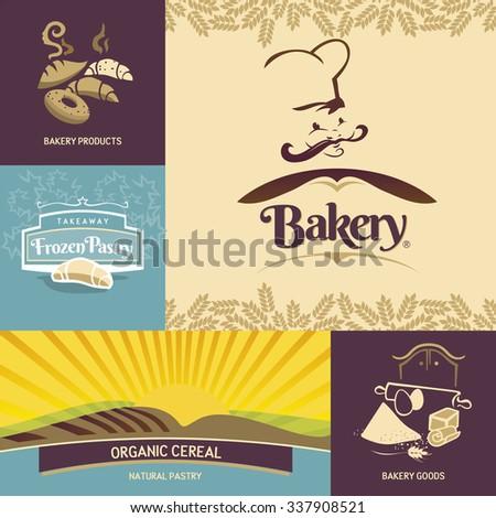 Bakery logo design templates - stock vector