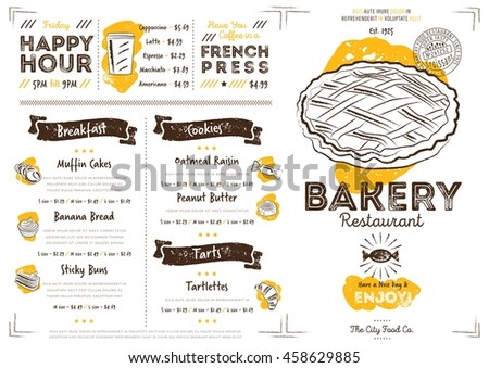 Bakery menu stock images royalty free images vectors shutterstock bakery menu design and bakery hand drawn vector illustration altavistaventures Image collections