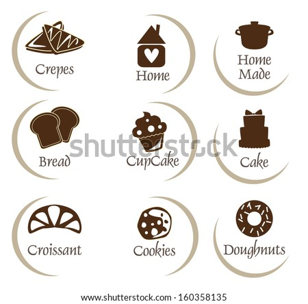 Bakery, pastry icons set - bread, donut, cake, cupcake - stock vector