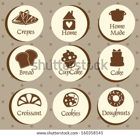 Bakery, pastry icons set,stickers - bread, donut, cake, cupcake - stock vector