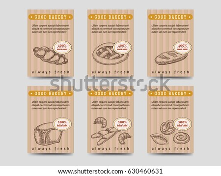 Bakery Products Brochure Flyer Template Design Vector Cards With Bread And Buns