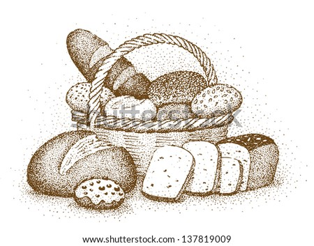 Bakery products drawn by hand - stock vector