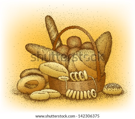 Bakery products hand-drawn illustration - stock vector